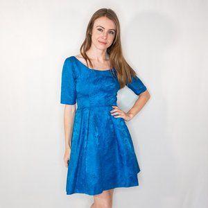 VINTAGE Blue Satin Floral Jacquard Dress